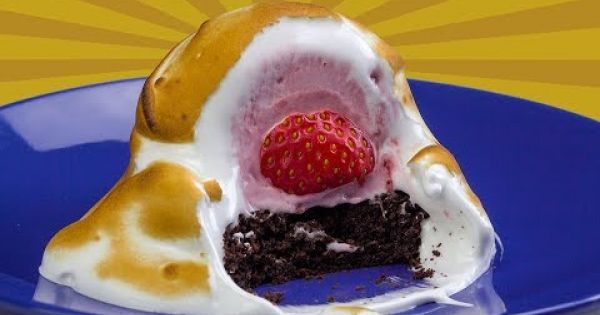 Frío y calor combinados en un delicioso postre: merengue relleno de helado